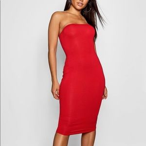 **SOLD** Boohoo Red Bandeau Bodycon Midi Dress